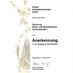 Auszeichnung Architekturpreis Regensburg 2013