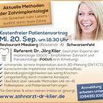 Vorankündigung zum Patientenveranstaltung und Implantatvortrag am 20. September 2017 um 18.30 im Saal der Restaurants Miebergstube in Schwarzenfeld